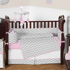 Pink and Gray Chevron Zig Zag Baby Bedding - 9pc Crib Set by Sweet Jojo Designs