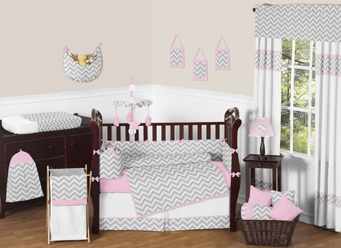 Pink and Gray Chevron Zig Zag Baby Bedding - 9pc Crib Set by Sweet Jojo Designs - Click to enlarge