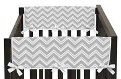 Pink and Gray Chevron Zig Zag Baby Crib Side Rail Guard Covers by Sweet Jojo Designs - Set of 2