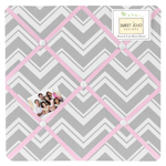 Pink and Gray Chevron Zig Zag Fabric Memory/Memo Photo Bulletin Board by Sweet Jojo Designs