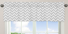 Window Valance for Pink and Gray Chevron Zig Zag Bedding Collection by Sweet Jojo Designs