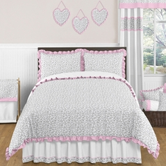 Pink and Gray Kenya Childrens and Kids Bedding - 3pc Full / Queen Set by Sweet Jojo Designs