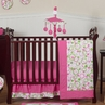 Pink and Green Circles Modern Baby Bedding - 11pc Crib Set