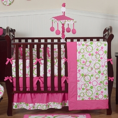 Pink and Green Circles Modern Baby Bedding - 9 pc Crib Set