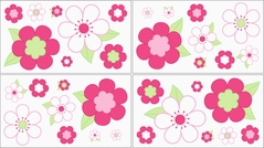 Pink and Green Flower Baby and Childrens Wall Decal Stickers - Set of 4 Sheets