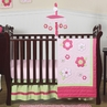 Pink and Green Flower Baby Bedding - 11pc Crib Set