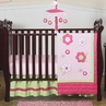 Pink and Green Flower Baby Bedding - 4pc Crib Set
