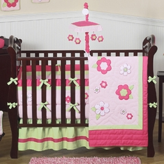 Pink and Green Flower Baby Bedding - 9 pc Crib Set