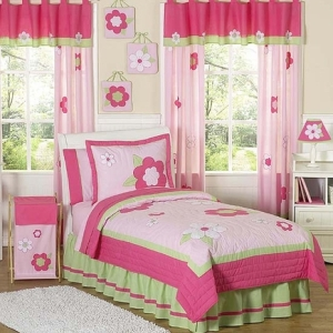 JoJo Designs Pink and Green Flower Childrens Bedding - 4p...