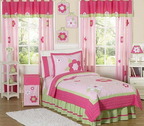 Pink and Green Flower Childrens Bedding - 4pc Twin Set - Click to enlarge