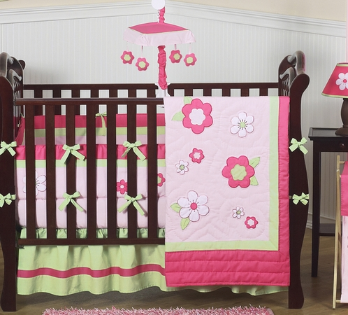Pink and Green Flower Baby Bedding - 9 pc Crib Set - Click to enlarge