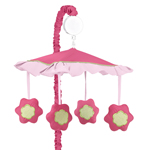 Pink and Green Flower Musical Crib Mobile