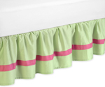 Pink and Green Flower Queen Bed Skirt by Sweet Jojo Designs