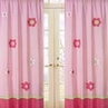 Pink and Green Flower Window Treatment Panels - Set of 2