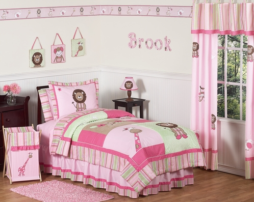 Pink and Green Girls Jungle Kids Bedding - 4pc Twin Set - Click to enlarge