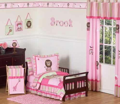 Pink And Green Girls Jungle Toddler Bedding 5pc Set Only