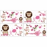 Pink and Green Jungle Friends Children and Kids Wall Decal Stickers - Set of 4 Sheets