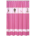 Pink and Green Jungle Friends Kids Bathroom Fabric Bath Shower Curtain