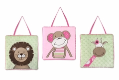 Pink and Green Jungle Friends Wall Hanging Accessories by Sweet Jojo Designs