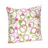 Pink and Green Modern Circles Polka Dot Accent Decorative Pillow