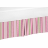 Pink and Green Stripe Crib Bed Skirt for Jungle Friends Baby Bedding Sets by Sweet Jojo Designs