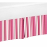 Pink and Green Stripe Crib Bed Skirt for Olivia Baby Bedding Sets by Sweet Jojo Designs