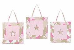 Pink and Khaki Camo Army Camouflage Wall Hanging Accessories by Sweet Jojo Designs