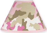 Pink and Khaki Camo Army Military Camouflage Lamp Shade by Sweet Jojo Designs