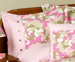 Pink and Khaki Camo Camouflage Pillow Sham