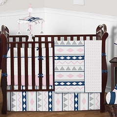 Pink and Navy Aztec Baby Bedding - 9 pc Crib Set by Sweet Jojo Designs