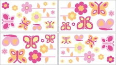 Pink and Orange Butterfly Baby and Childrens Wall Decal Stickers - Set of 4 Sheets