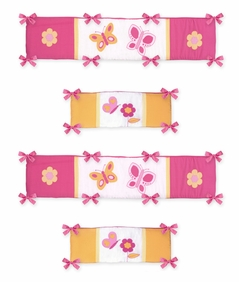 Pink and Orange Butterfly Collection Crib Bumper by Sweet Jojo Designs