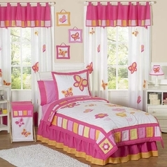 Pink and Orange Butterfly Children's Bedding- 3pc Full / Queen Set