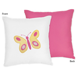 Pink and Orange Butterfly Decorative Accent Throw Pillow by Sweet Jojo Designs