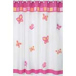 Pink and Orange Butterfly Kids Bathroom Fabric Bath Shower Curtain