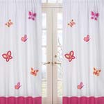 Pink and Orange Butterfly Window Treatment Panels - Set of 2