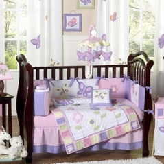 Pink and Purple Butterfly Baby Bedding - 9pc Crib Set