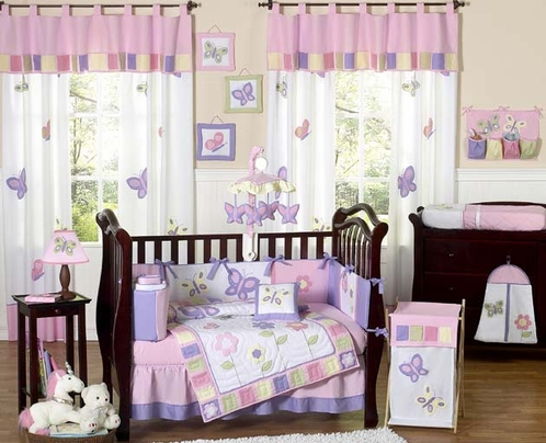 Pink and Purple Butterfly Baby Bedding - 9pc Crib Set - Click to enlarge