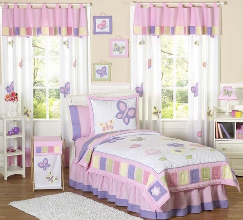 Pink And Purple Butterfly Childrens Bedding 4pc Twin Set Only