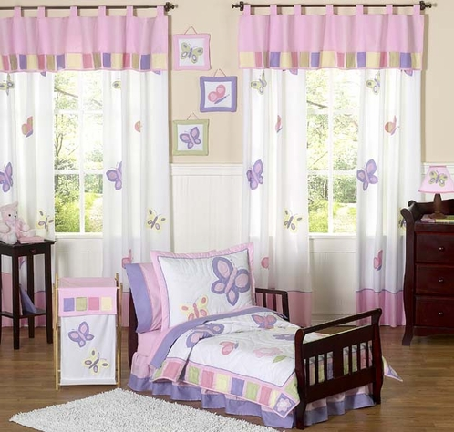 Pink and Purple Butterfly Toddler Bedding - 5pc Set - Click to enlarge