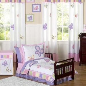 JoJo Designs Pink and Purple Butterfly Toddler Bedding - ...