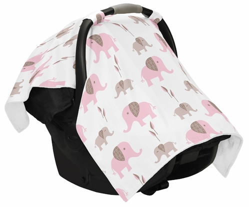 Pink And Taupe Elephant Baby Infant Car Seat Carrier