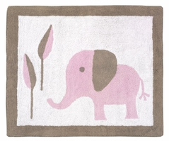 Pink and Taupe Mod Elephant Accent Floor Rug by Sweet Jojo Designs