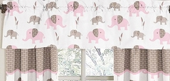 Pink and Taupe Mod Elephant Window Valance by Sweet Jojo Designs