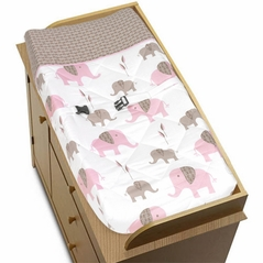 Pink and Taupe Mod Elephant Baby Changing Pad Cover by Sweet Jojo Designs