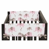 Pink and Taupe Mod Elephant Baby Crib Side Rail Guard Covers by Sweet Jojo Designs - Set of 2