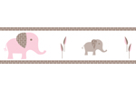 Pink and Taupe Mod Elephant Children and Kids Modern Wall Border by Sweet Jojo Designs