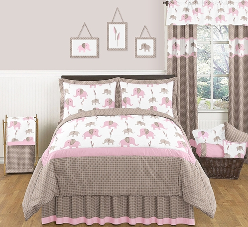 Pink and Taupe Mod Elephant Childrens and Kids Bedding - 3pc Full / Queen Set by Sweet Jojo Designs - Click to enlarge