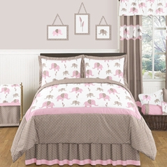 Pink and Taupe Mod Elephant Childrens and Kids Bedding - 3pc Full / Queen Set by Sweet Jojo Designs