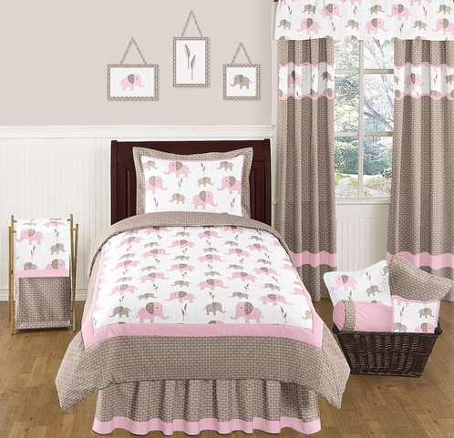 Pink and Taupe Mod Elephant Childrens and Kids Bedding - 4pc Twin Set by Sweet Jojo Designs - Click to enlarge